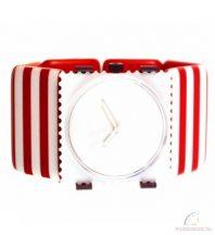 BELTA STRIPES - RED & WHITE STAMPS óraszíj