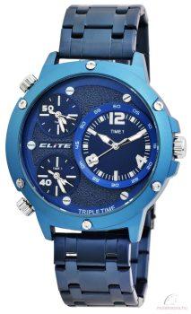 Elite 3 időzónás férfi karóra fém szíjjal - Kék