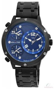 Elite 3 időzónás férfi karóra fém szíjjal - Fekete kék