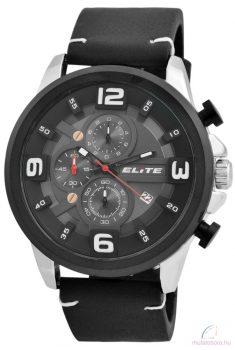 Elite 02 férfi karóra műbőr szíjjal - Fekete ezüst
