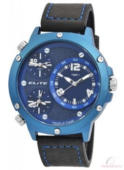 Elite 3 időzónás férfi karóra műbőr szíjjal - Fekete kék