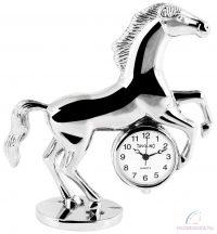 Tavolino miniatűr lovas asztali óra - ezüst