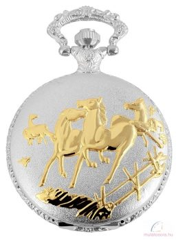 Fame ezüst színű zsebóra lovas díszítéssel