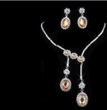Csillogó esküvői nyakék szett strassz kövekkel és sárga  kristályokkal díszítve