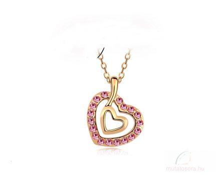 Csillogó rózsaszín kristályokkal díszített szív medál nyaklánccal