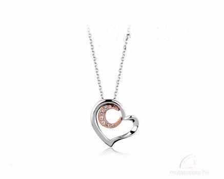 Csillogó fehér kristályokkal díszített szív medál nyaklánccal