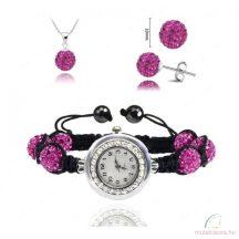 Karórás shamballa szett, pink (karóra, nyaklánc és fülbevaló)