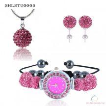 Karórás shamballa szett, rózsaszín (karóra, nyaklánc és fülbevaló)