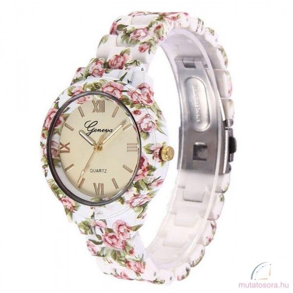 Geneva Flower Style Plasztik Női Óra - Akciós 5e06f3e413