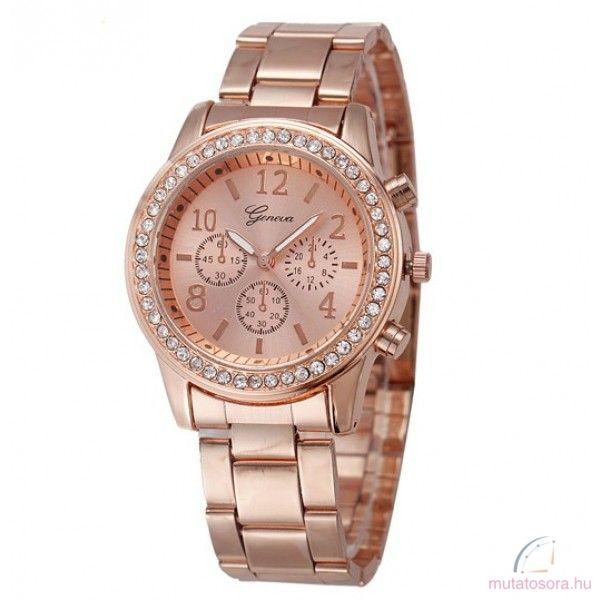Geneva Köves Chrono Style Rose Gold Színű Női Karóra - Akciós 81000012c9
