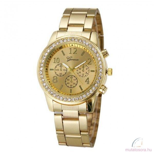 Geneva Köves Chrono Style Arany Színű Női karóra - Akciós 63d68d28cb