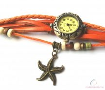 Kézműves karóra tengeri csillag dísszel - Narancssárga