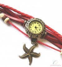 Kézműves karóra tengeri csillag dísszel - Piros