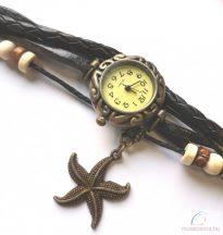 Kézműves karóra tengeri csillag dísszel - Fekete