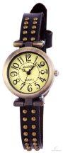 Alain Miller szegecselt női karkötő óra - sötétbarna