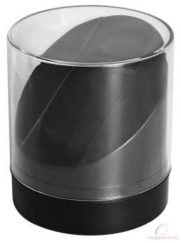 Kerek átlátszó műanyag óradoboz - fekete