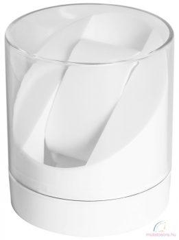 Kerek átlátszó műanyag óradoboz - fehér