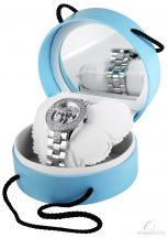 Kerek tükrös kék karóra tartó doboz