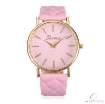 Geneva Quilted Arany Színű Női karóra - Pink