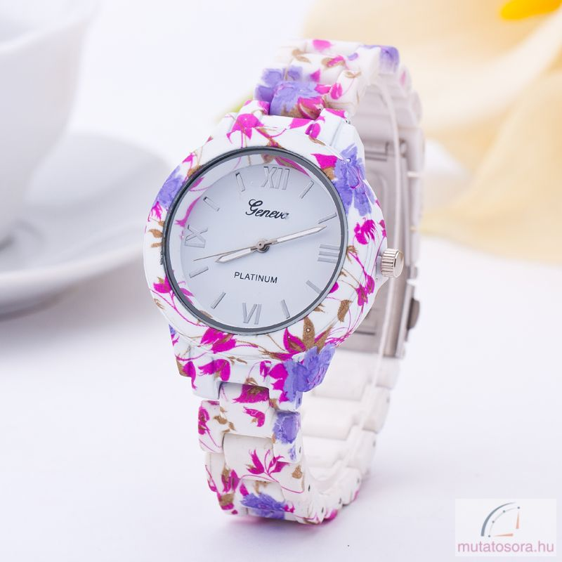 Geneva Flower Style Plasztik Női Óra - pink - Akciós 634f754237
