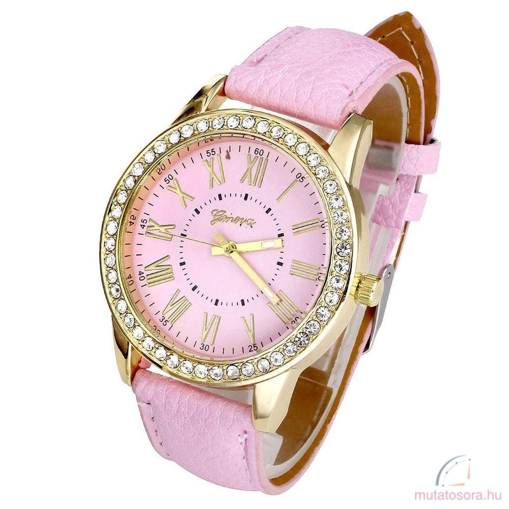 Geneva köves női karóra - Rózsaszín - Akciós 5998af140a