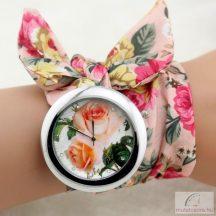 Divatos, nyárias karóra rózsaszín, virágos szövet szíjjal - nagyméretű számlappal