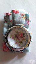 Divatos, nyárias karóra virágos szövet szíjjal - nagyméretű számlappal