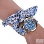 Divatos, nyárias karóra kék, virágos szövet szíjjal - közepes méretű számlappal