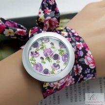 Divatos, nyárias karóra lila, virágos szövet szíjjal - nagyméretű számlappal
