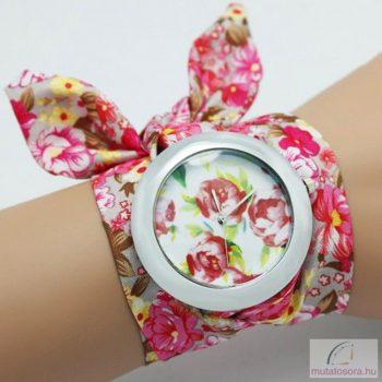 Divatos, nyárias karóra pink, virágos szövet szíjjal - nagyméretű számlappal