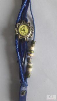 Vintage retro Bőr karkötó Női Óra Pillangó medál - kék - sérült