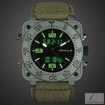Infantry katonai digitális kvarc karóra - zöld csattos szövet szíjjal