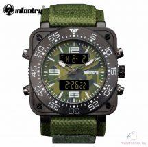 Infantry katonai digitális kvarc karóra - zöld tépőzáras szövet szíjjal