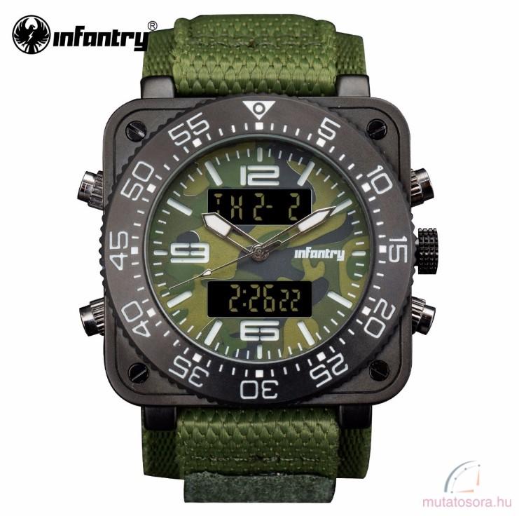 098928fccc Infantry katonai digitális kvarc karóra - zöld tépőzáras szövet szíjjal