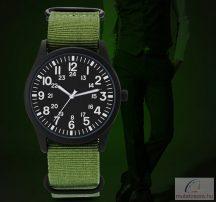 Szövetszíjas katonai férfi karóra zöld-fekete