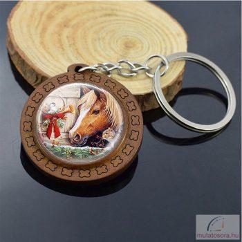 Kulcstartó lovas mintával