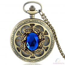 Bronz színű köves láncos óra - Kék