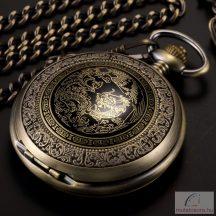 Bronz színű sárkánymintás láncos óra