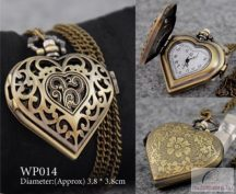 Bronz színű szíves láncos óra