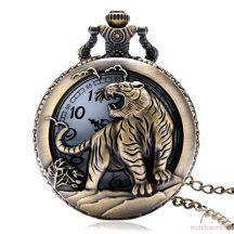 Bronz színű láncos óra tigris mintával
