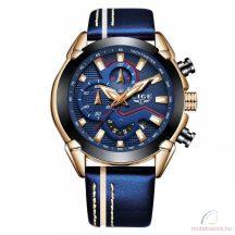 Lige férfi karóra dátum mutatóval - Rosegold kék