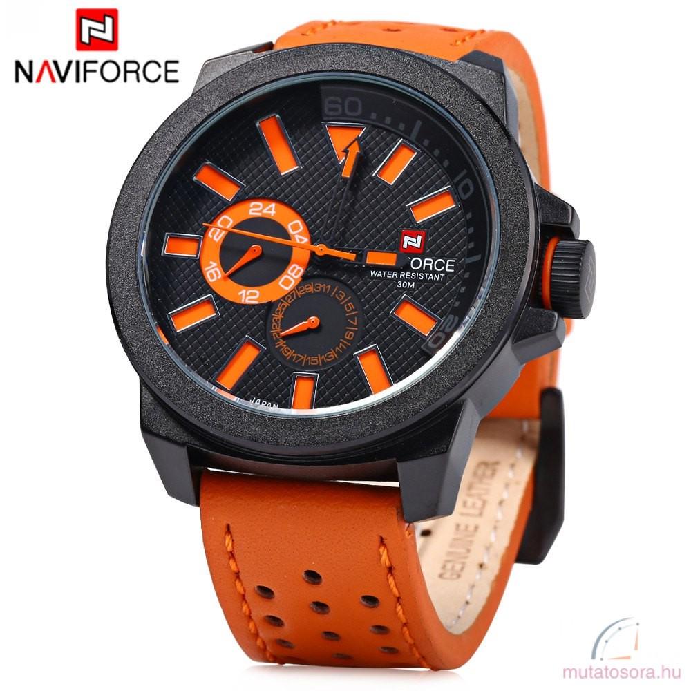 Naviforce nagyméretű férfi kvarcóra - narancs-fekete - Akciós adb04e6774
