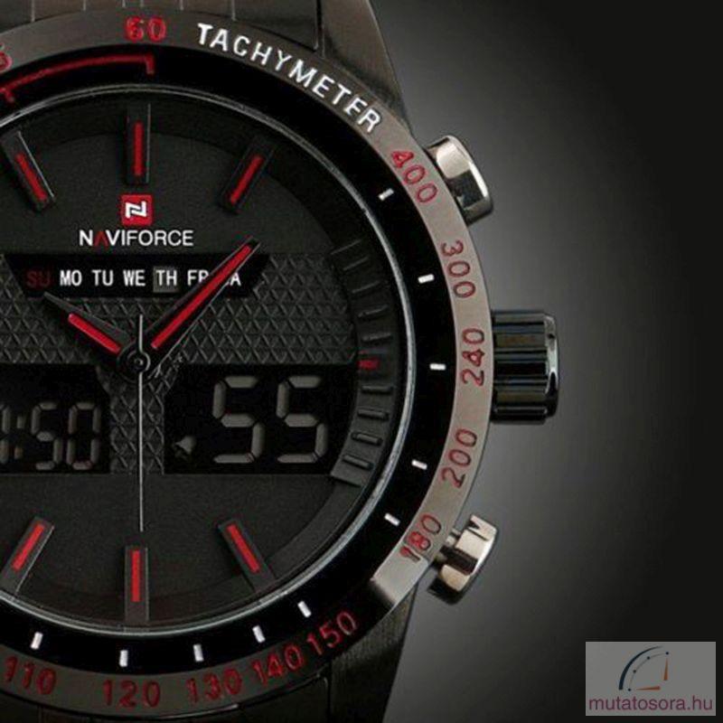 Naviforce fekete fémszíjas Férfi karóra - piros - Akciós b069268801