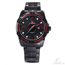Naviforce 9079 fémszíjas fekete férfi karóra - piros