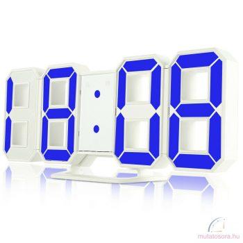 3D Led digitális ébresztőóra fehér - kék