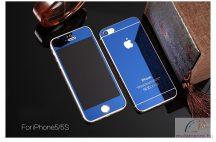 iPhone 5 / 5S /SE Tükrös Elő és Hátlapi Üveg Lap Kék