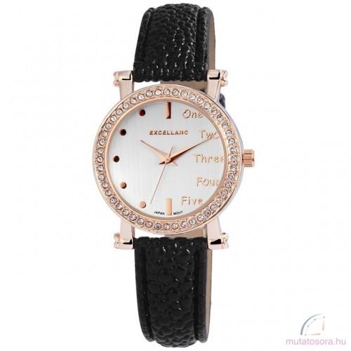 Excellanc Doris köves rose gold színű női óra fekete - Akciós ef94999432