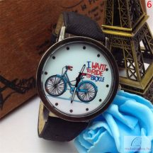 Uniszex biciklis bőrszíjas karóra - több szín