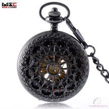Fekete színű automata steampunk zsebóra